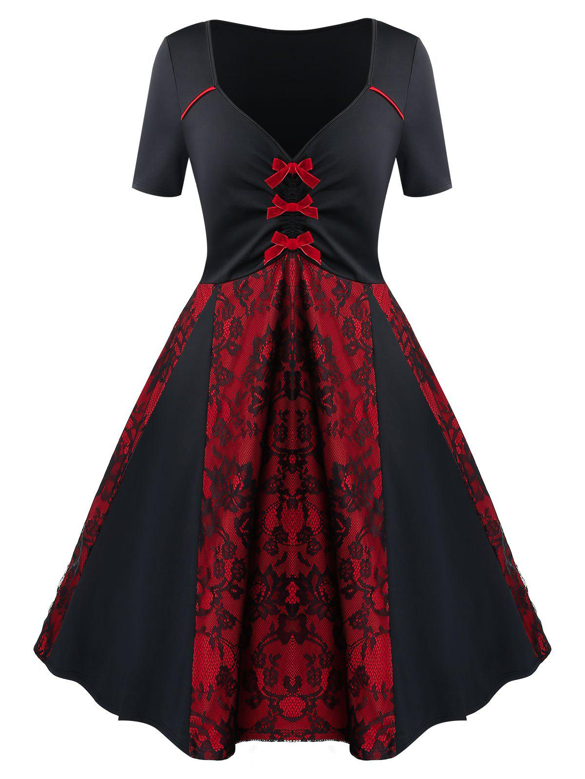 Discount Bowknot Two Tone Lace Panel Fit And Flare Dress