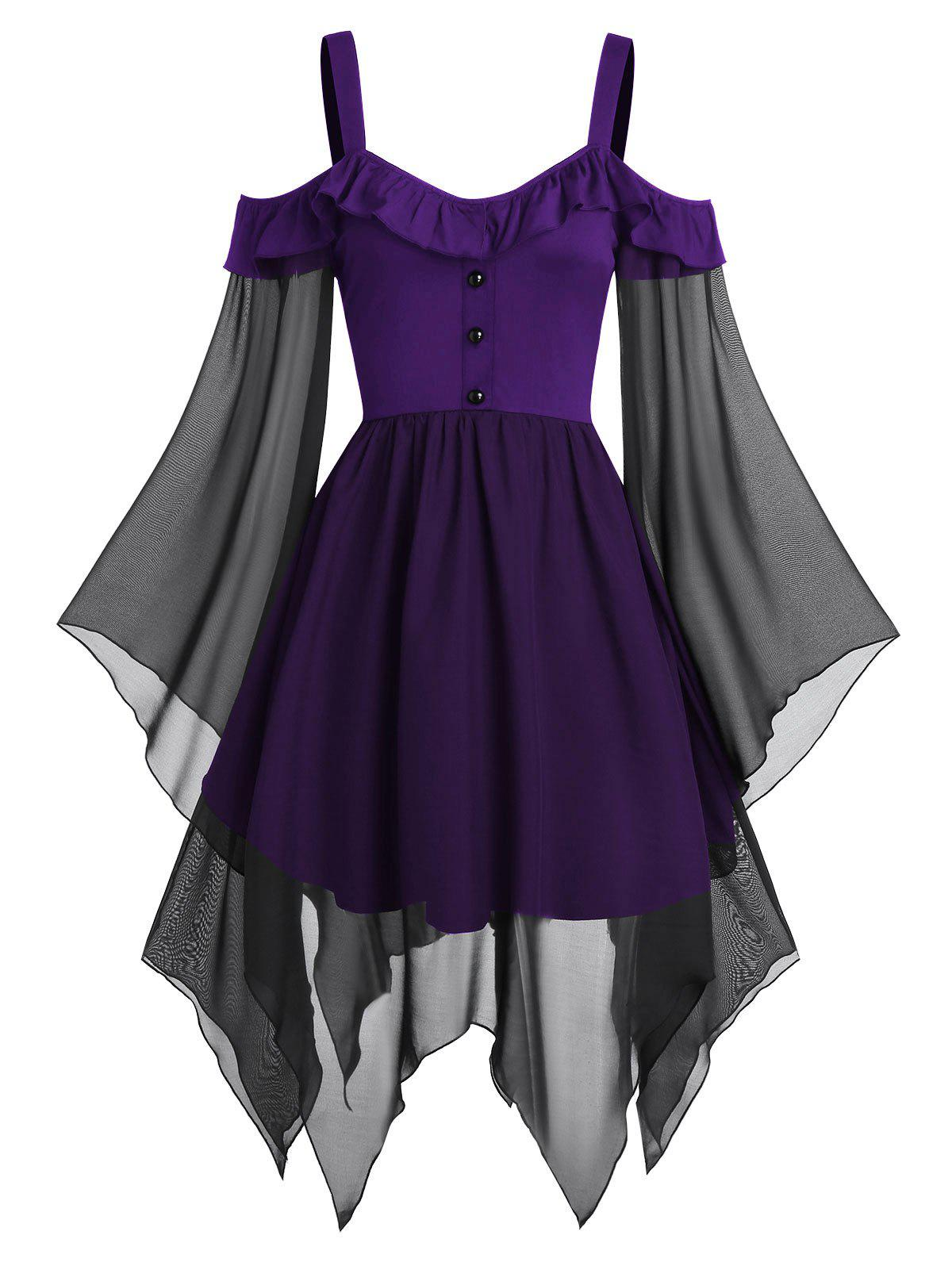 Chic Cold Shoulder Butterfly Sleeve Lace-up Handkerchief Gothic Chiffon Dress