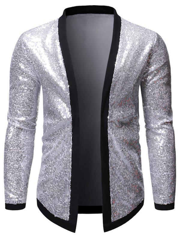 Shop Sequins Contrast Trim Spliced Open Front Club Jacket