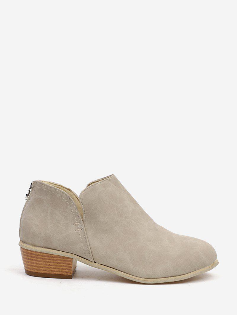 Unique Stacked Block Heel Short Boots