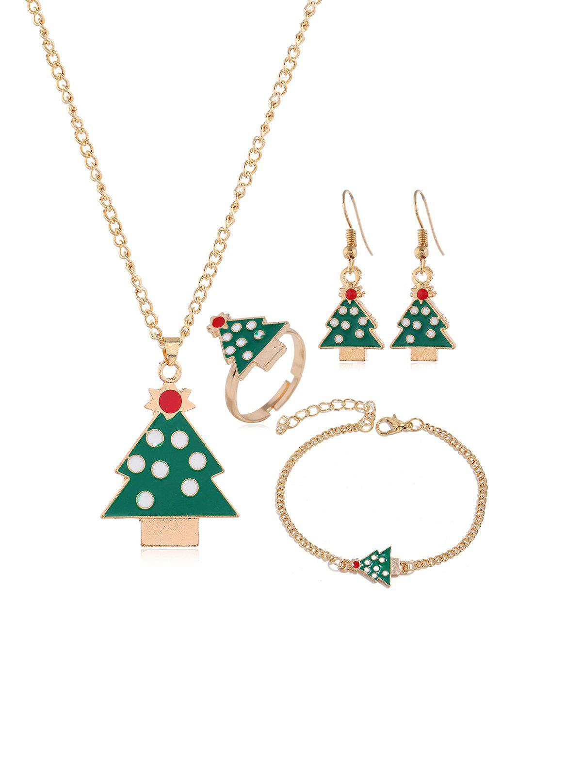 Outfit Christmas Elk Tree Glazed Jewelry Suit