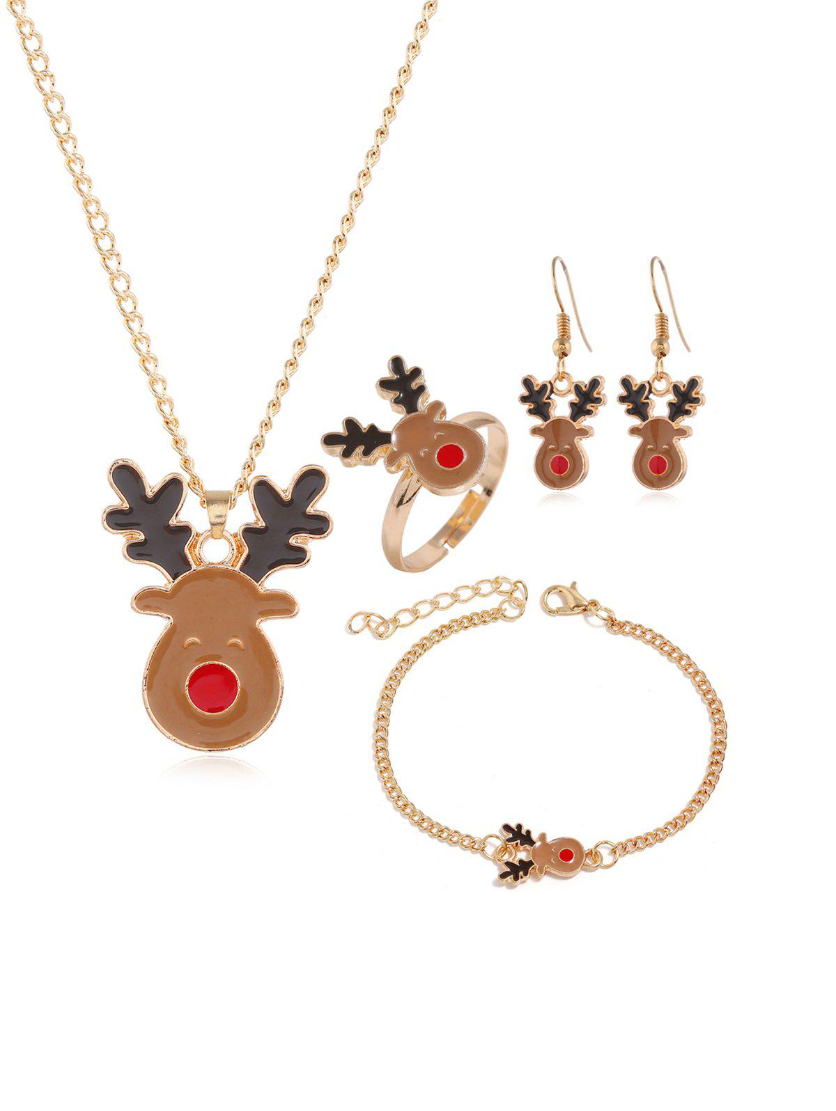 Affordable Christmas Elk Tree Glazed Jewelry Suit