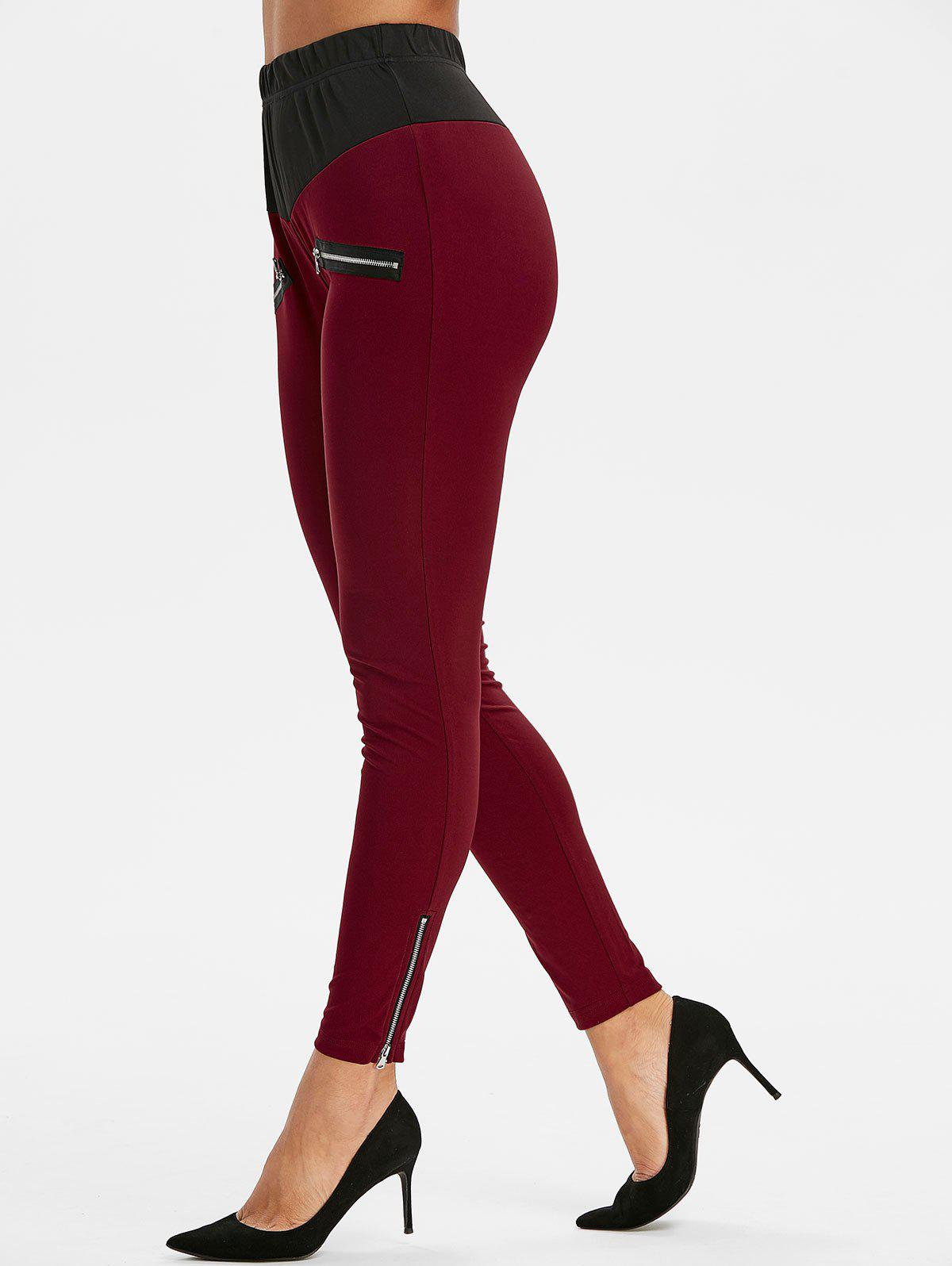 Affordable Zipper Embellished Contrast Trim Leggings