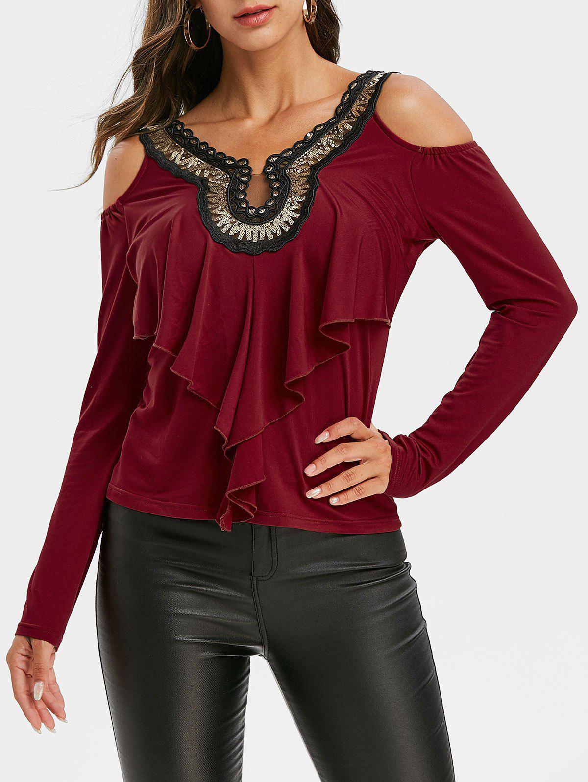 Best Sequined Ruffles Cold Shoulder Long Sleeves Tee