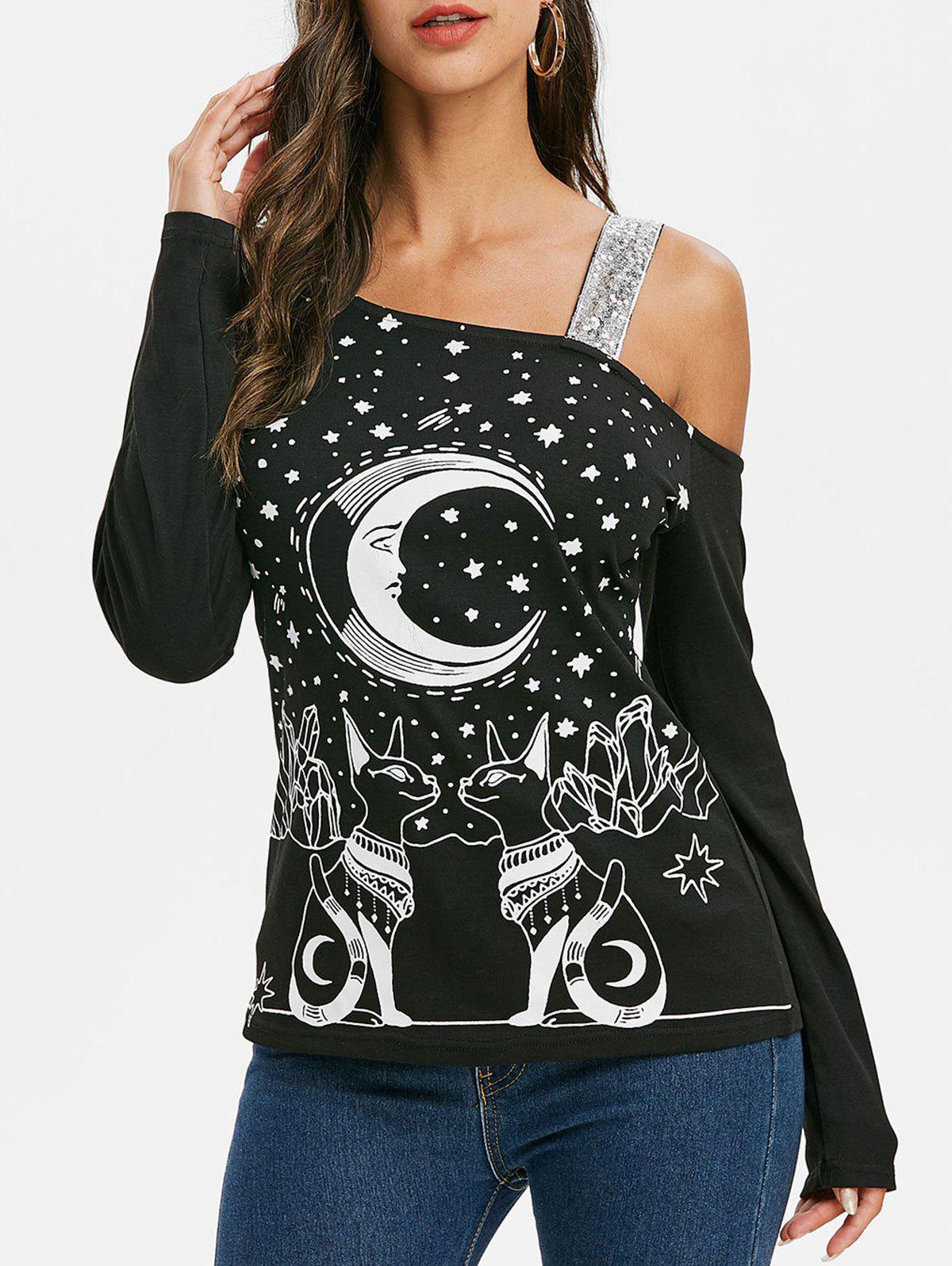 Trendy Moon Cat Graphic Sequined Long Sleeves Tee