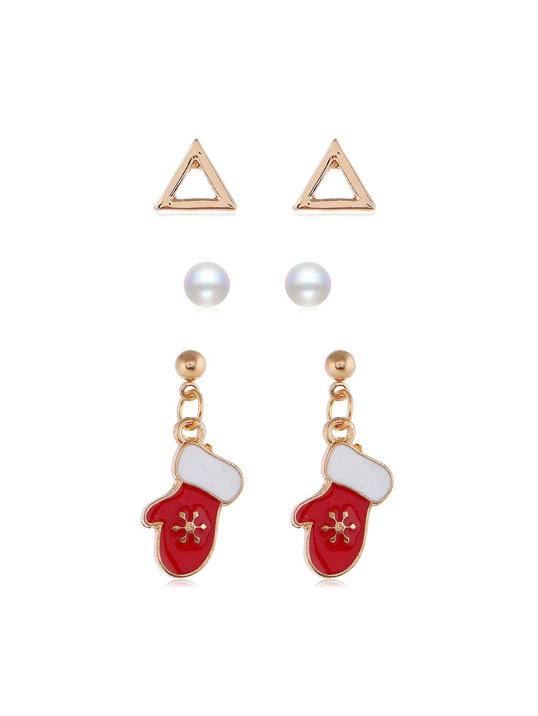 Outfits 3 Pairs Christmas Tree Santa Faux Pearl Earrings Set