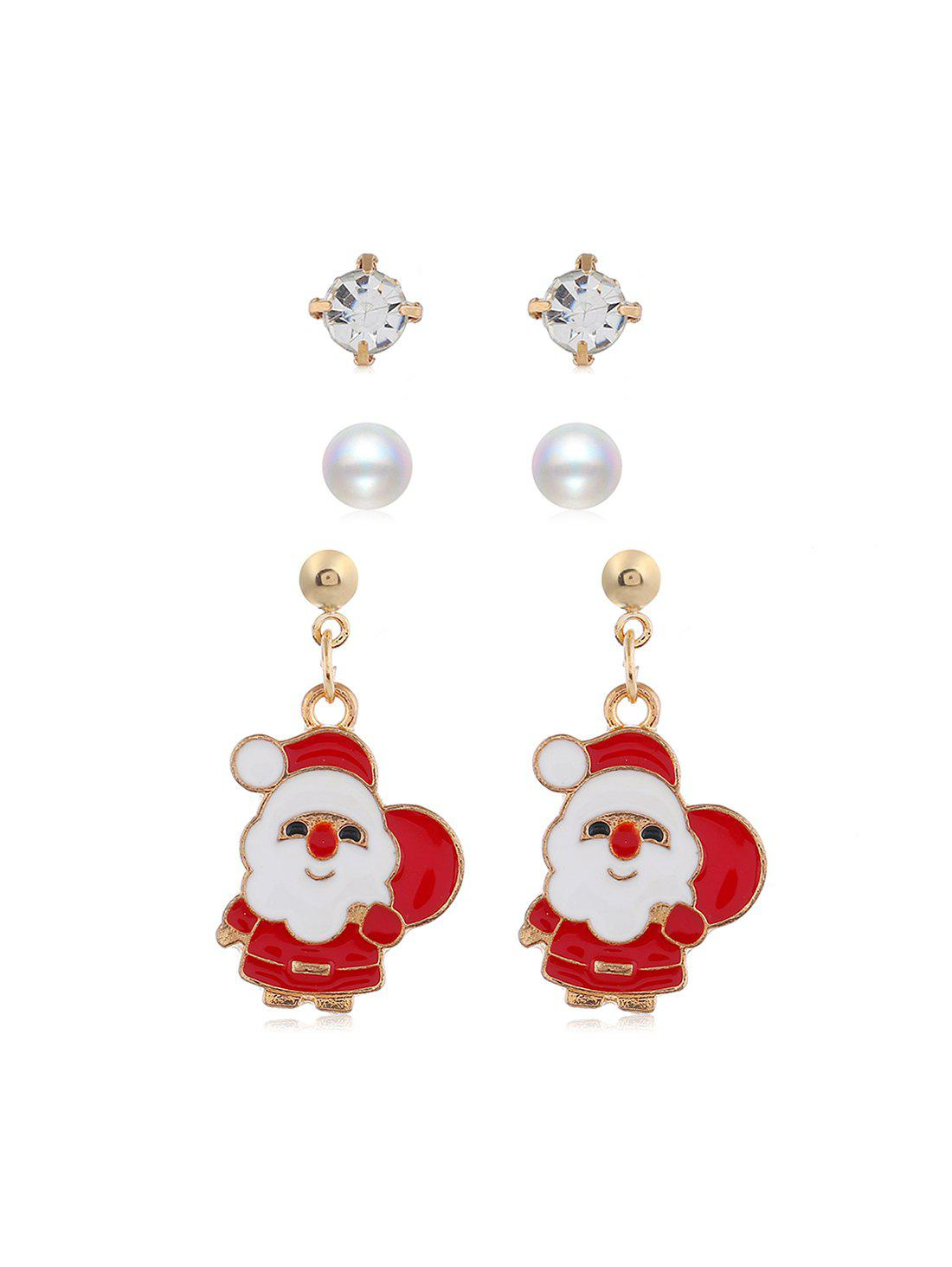 Shops 3 Pairs Christmas Tree Santa Faux Pearl Earrings Set