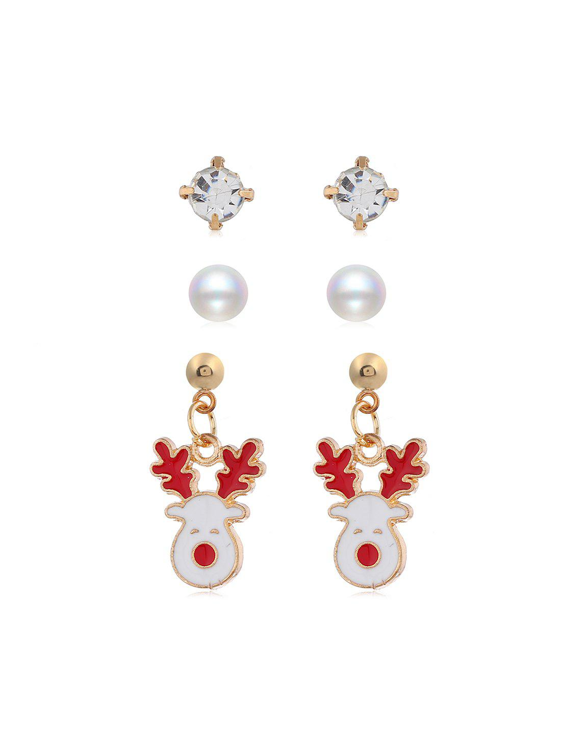 Sale 3 Pairs Christmas Tree Santa Faux Pearl Earrings Set