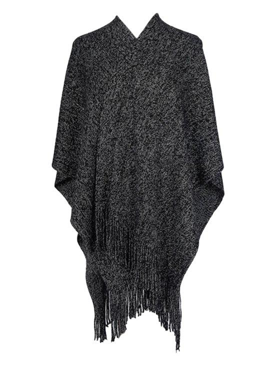 Fashion Solid Fringed Metallic Split Shawl