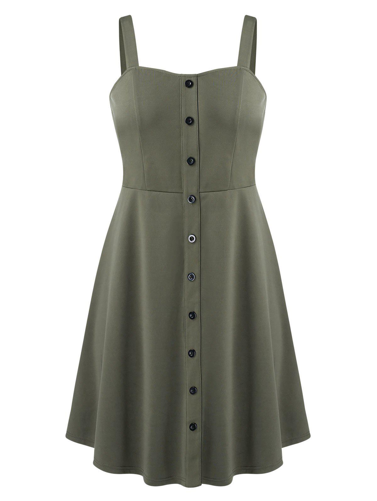 Trendy Sweetheart Collar Fit And Flare Button Down Dress