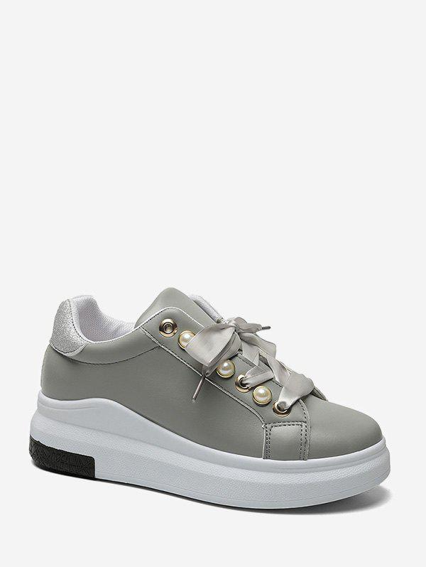 Cheap Faux Pearl Embellished Low Top Platform Sneakers