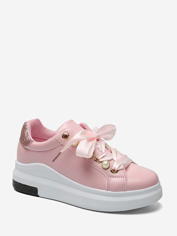Discount Faux Pearl Embellished Low Top Platform Sneakers