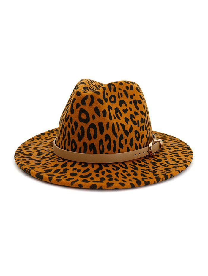 Trendy Winter Leopard Print Buckle Jazz Hat