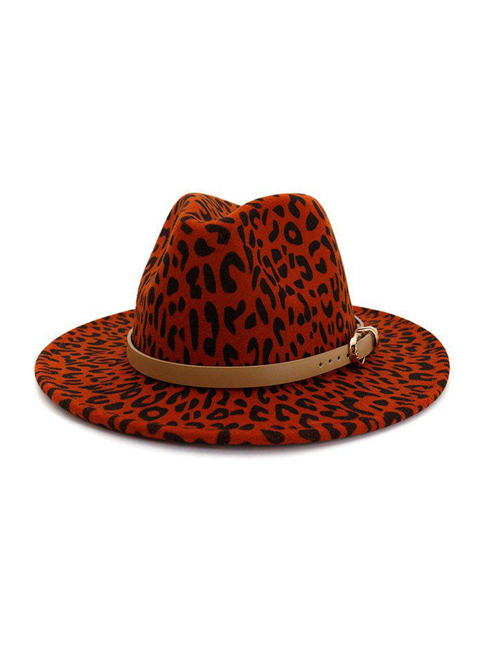 Best Winter Leopard Print Buckle Jazz Hat