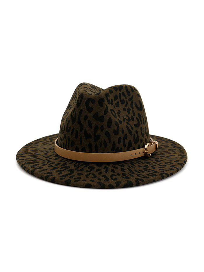 Chic Winter Leopard Print Buckle Jazz Hat