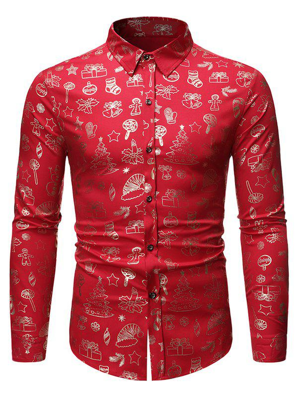 Trendy Christmas Pattern Allover Print Long Sleeve Button Shirt