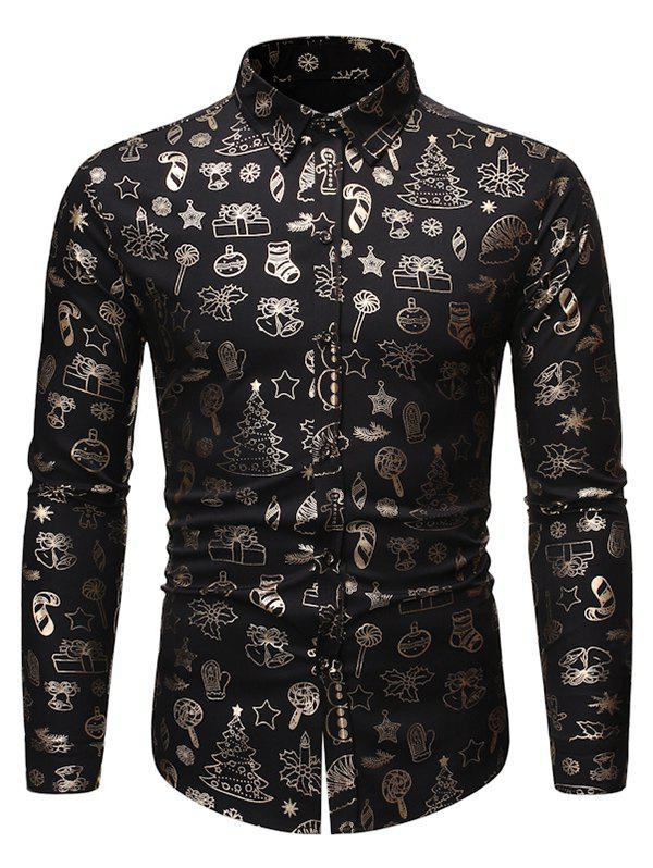 Fancy Christmas Pattern Allover Print Long Sleeve Button Shirt