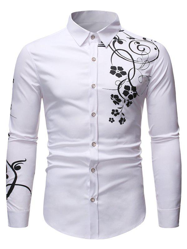 Trendy Floral Print Long Sleeve Slim Fit Button Shirt