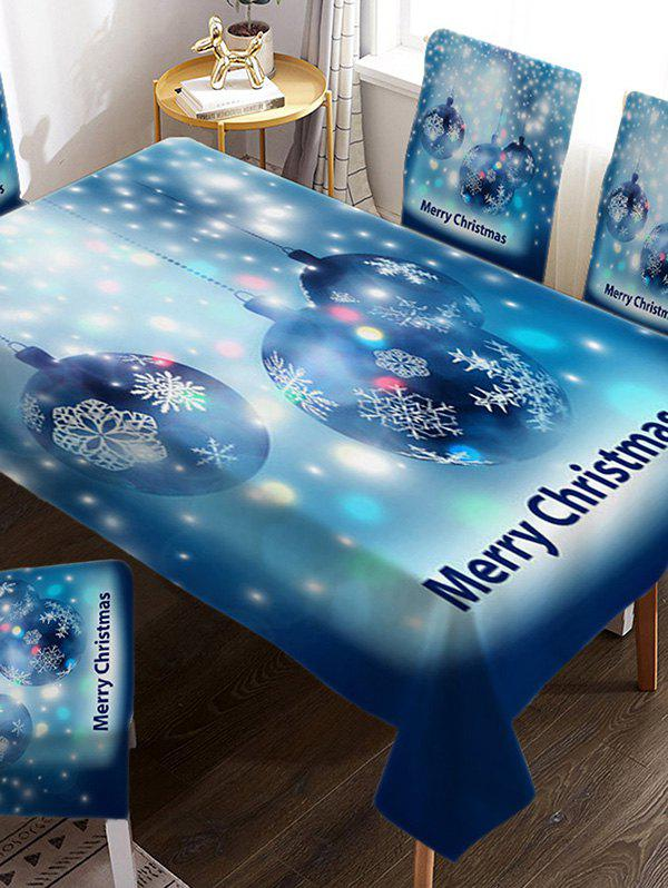 Trendy Merry Christmas Ball Fabric Waterproof Table Cloth
