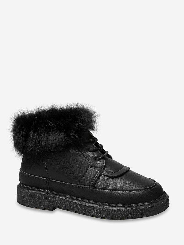 Sale Solid Color Faux Fur Trim Ankle Boots