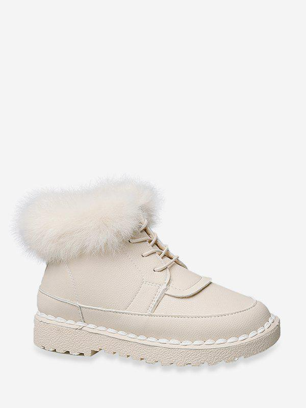 Chic Solid Color Faux Fur Trim Ankle Boots