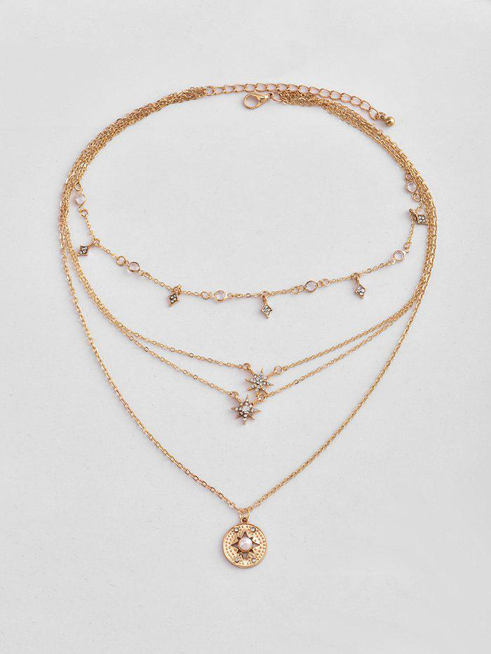 Collier Superposé Etolie Pendante avec Strass Or