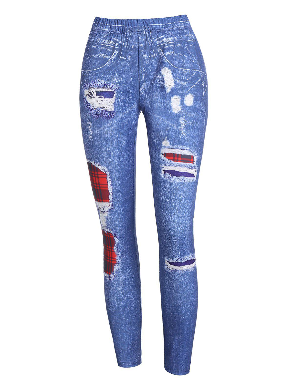 Affordable High Waist Plaid 3D Destroyed Print Jeggings