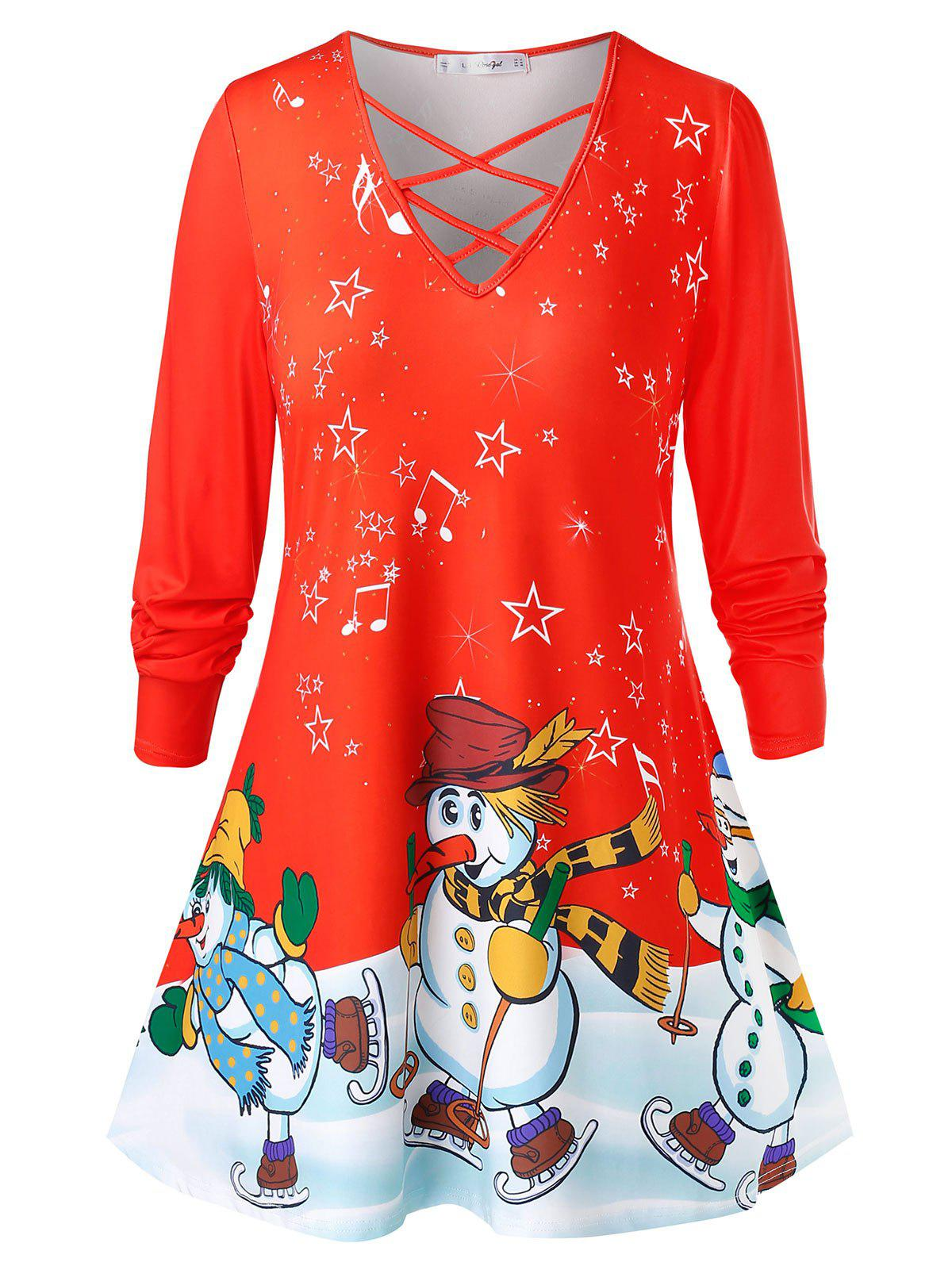 Outfits Plus Size Snowmen Print Criss Cross Christmas T-shirt