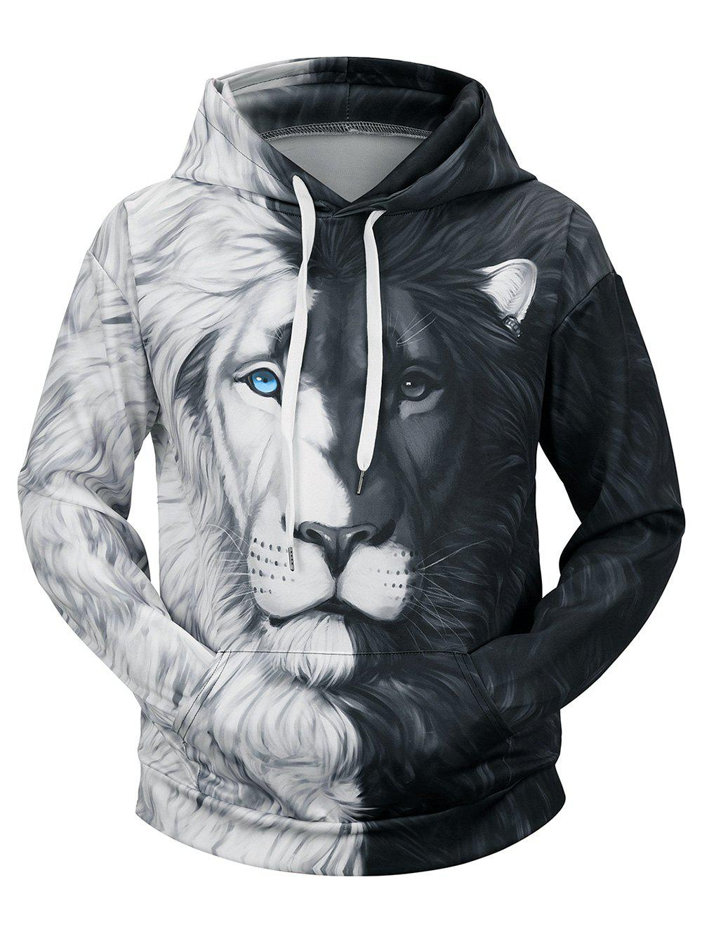 Cheap Contrast Color Lion Printed Hoodie
