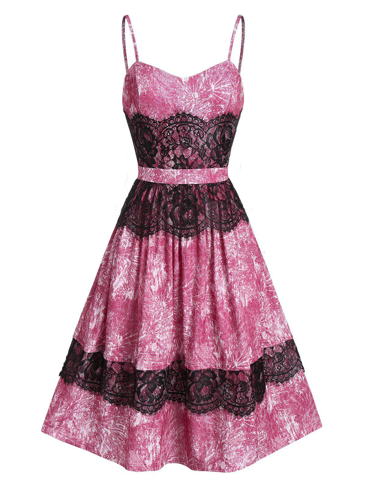 Store Sweetheart Neck A Line Lace Strap Dress