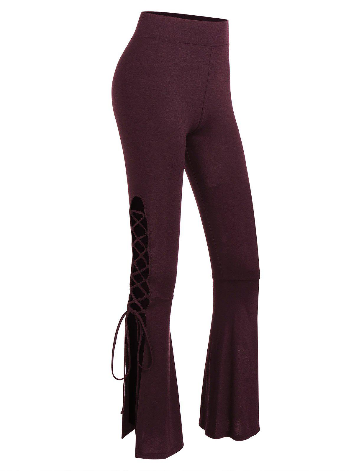 Cheap High Waist Lace Up Flare Pants