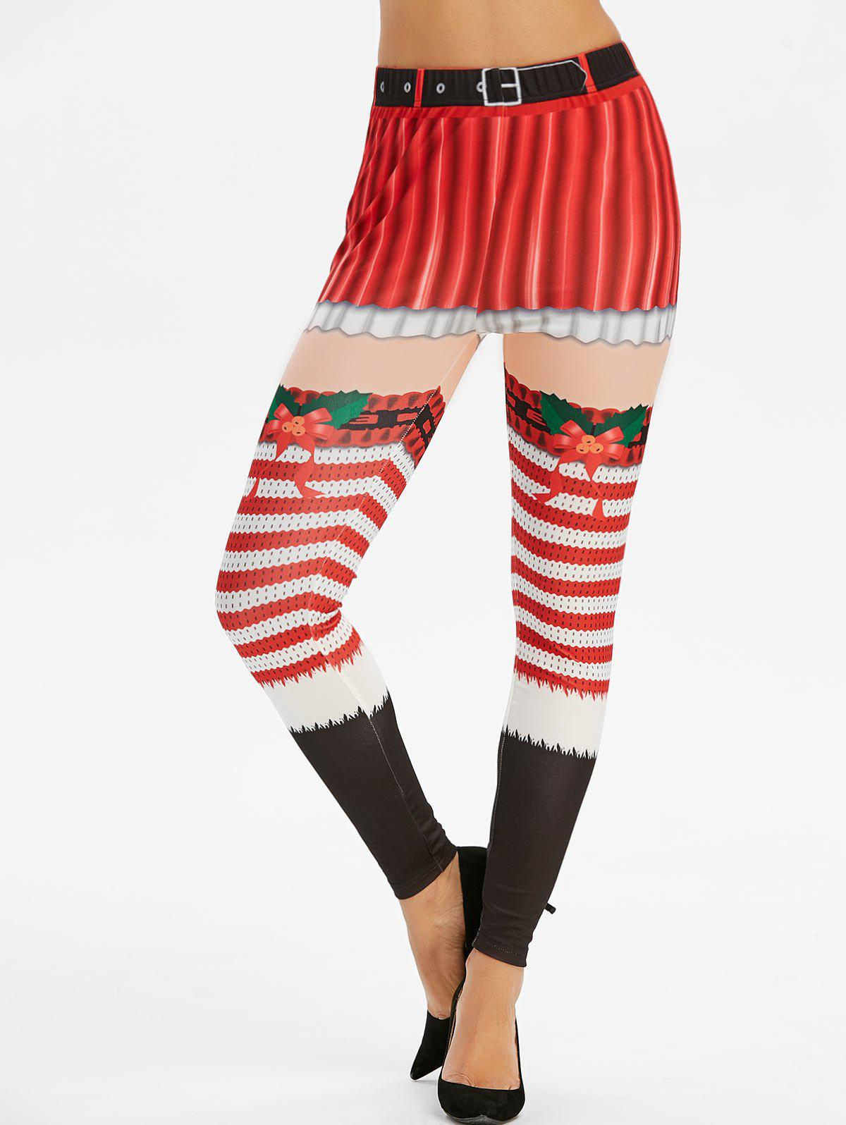 Outfits Christmas Striped Print High Waisted Leggings