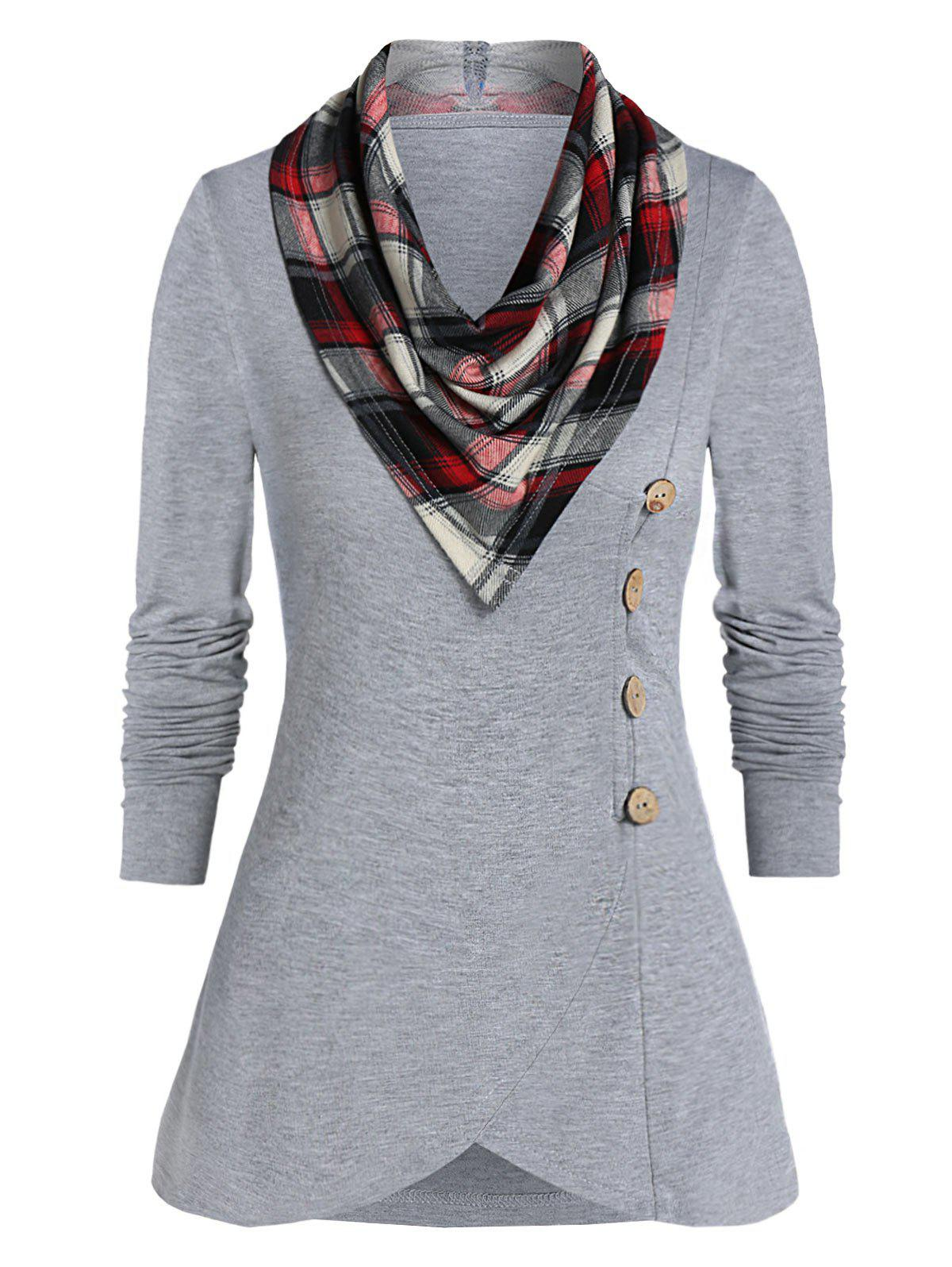 Chic Long Sleeve Button T Shirt with a Cowl Neck