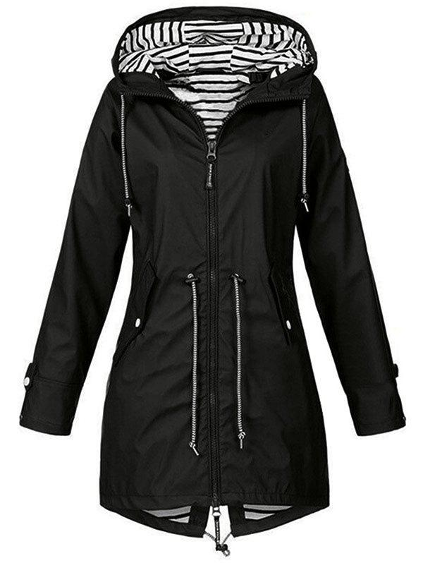 Plus Size Striped Full Zip Drawstring Coat