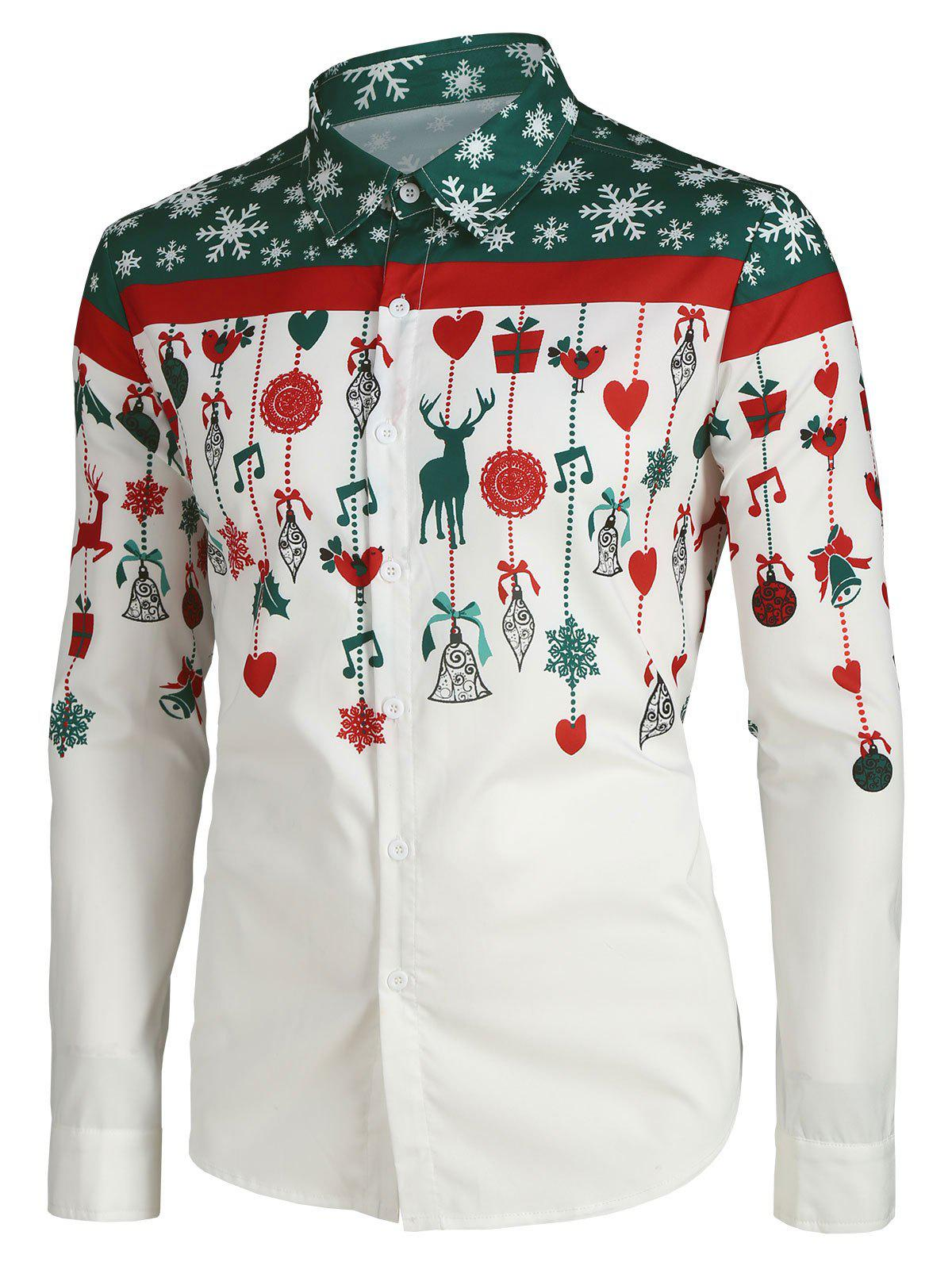 Affordable Christmas Cartoon Decorations Print Button Up Shirt