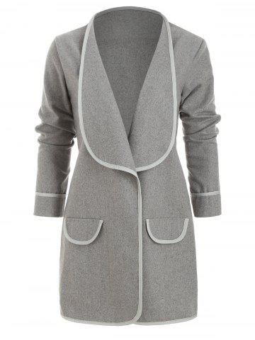 Open Wool Blend Waterfall Draped Tunic Coat