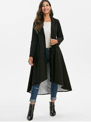 Mock Button Solid High Low Coat