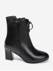 Solid Color Tie Up Chunky Heel Short Boots -