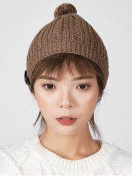 Button Hollow Bubble Knitted Hat -