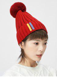 Fuzzy Ball Knitted Hat -
