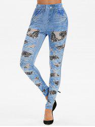 High Waist 3D Crisscross Lace Print Jeggings -