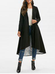 Mock Button Solid High Low Coat -