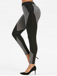 Two Tone Marled Leggings Gym - Noir XL