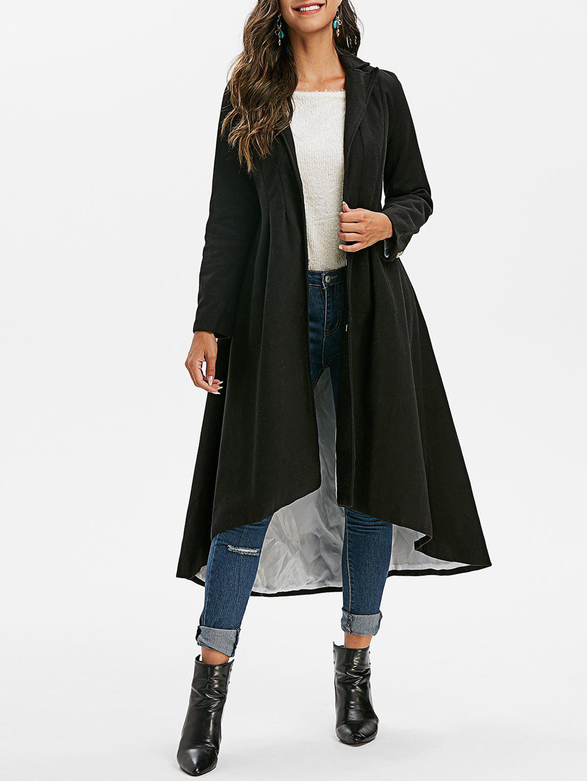 Outfits Mock Button Solid High Low Coat