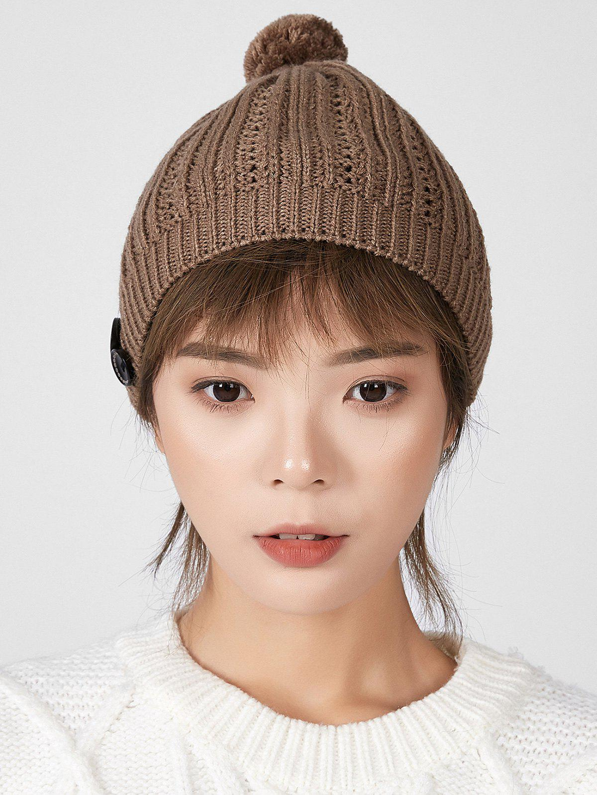 Shops Button Hollow Bubble Knitted Hat