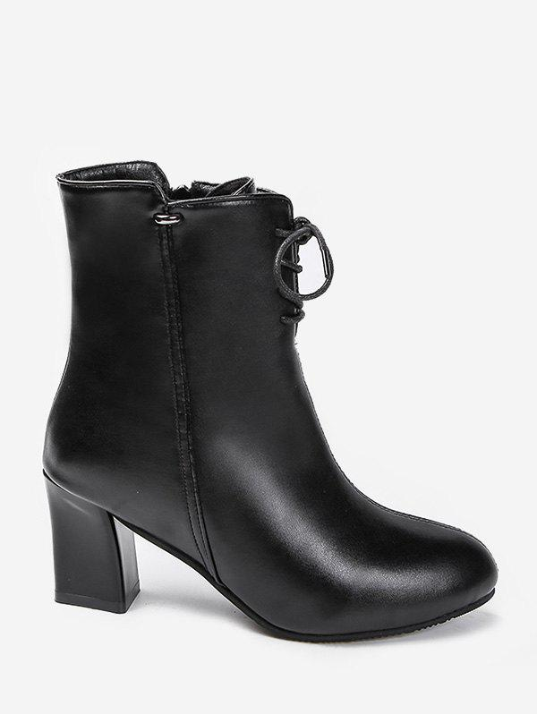 Online Solid Color Tie Up Chunky Heel Short Boots