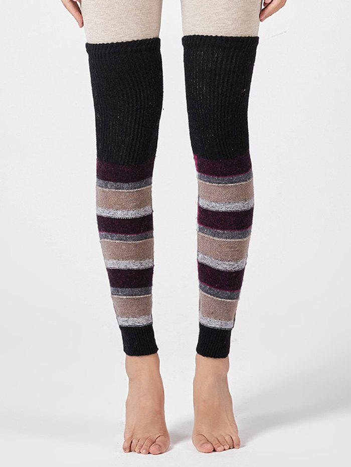 Unique Striped Knitted Over Knee Sleeve Sock