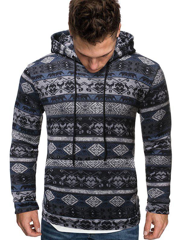 Affordable Tribal Printed Kangaroo Pocket Hoodie