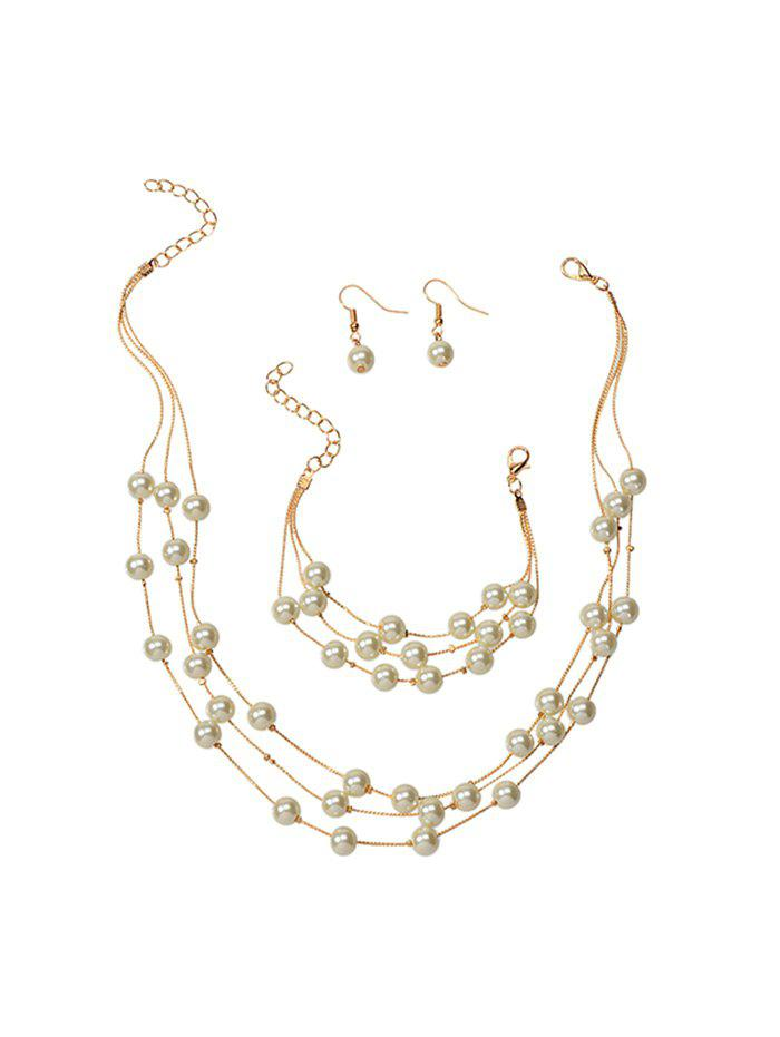 Sale Pearls Layered Chain Necklace Earrings Bracelet Set