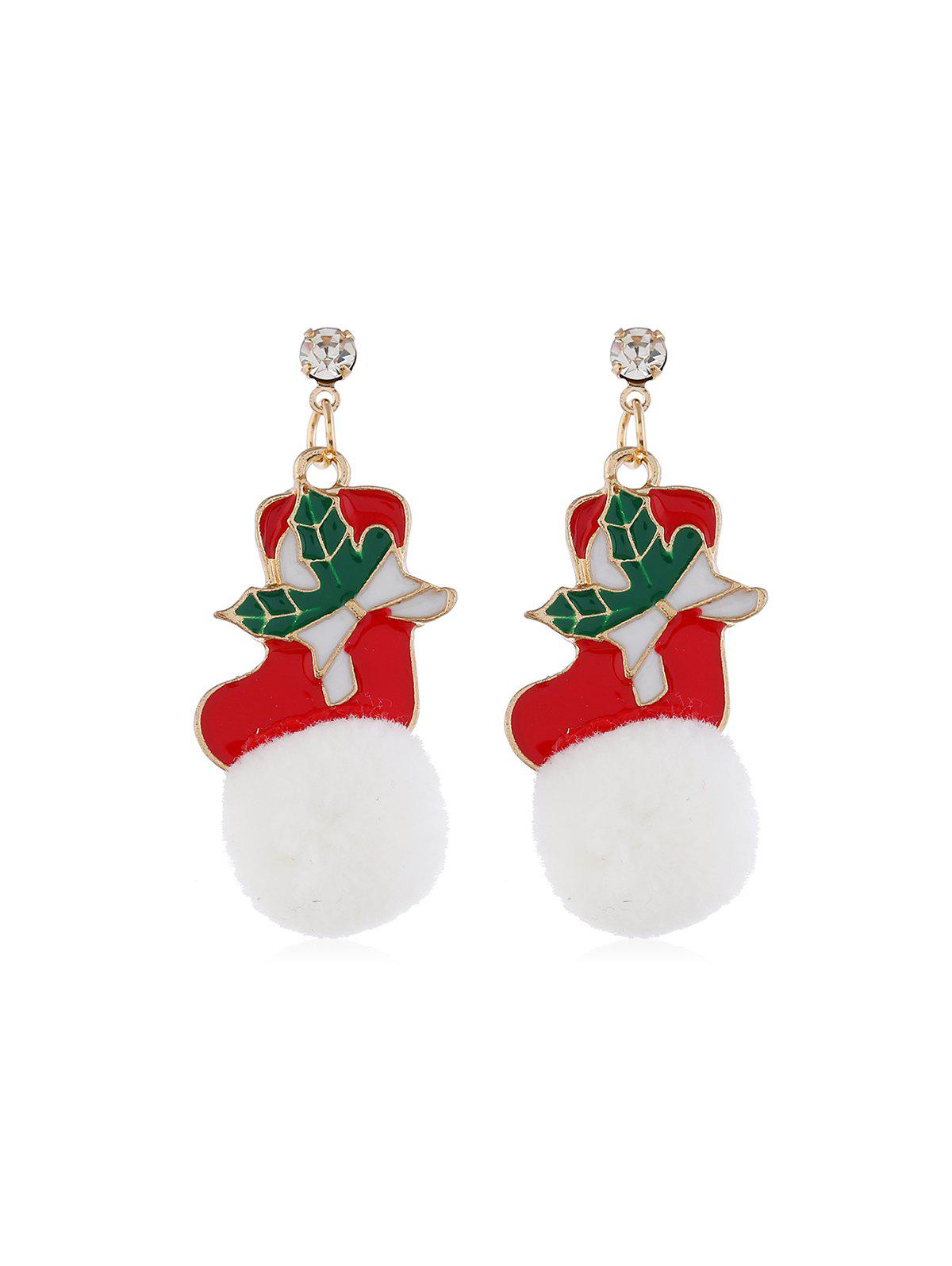 Hot Christmas Santa Snowflake Fuzzy Ball Earrings
